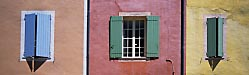 Provencal colour – painted window shutters in Roussillon, Provence